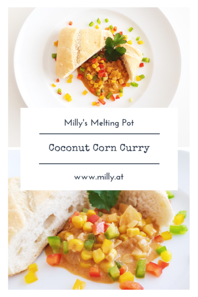 This indian corn curry in coconut milk is sweat and savory and will make every vegetarian's (or other) heart beat faster! #curry #corn