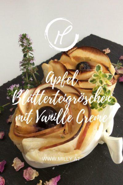 Dieses schnelle und leckere Dessert wird all Ihre Gäste verblüffen - APfel Blätterteigröschen sind blitzschnell gemacht aber geben etwas her! Stöbern Sie auf milly.at nach weiteren Dessert Ideen.