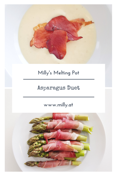 This recipe for a quick and easy asparagus soup and bacon-wrapped asparagus is an ideal starter for your spring dinner! #asparagus #spring #lightfood #speck