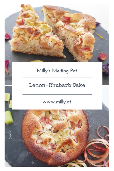 This lemon-rhubarb cake with poppy seeds is a delicious spring recipe and a great gift! #cake #dessert #rhubarb #spring #lemon