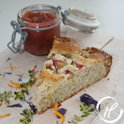 zitronen-mohn kuchen, lemon poppyseed cake, cake, kuchen, rhabarber, rhubarbe
