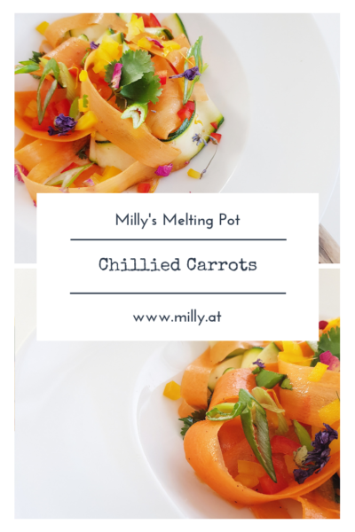 Colorful chillied carrots with zucchini - you will not believe the amount of flavour in this salad. A perfect dish for the summer!