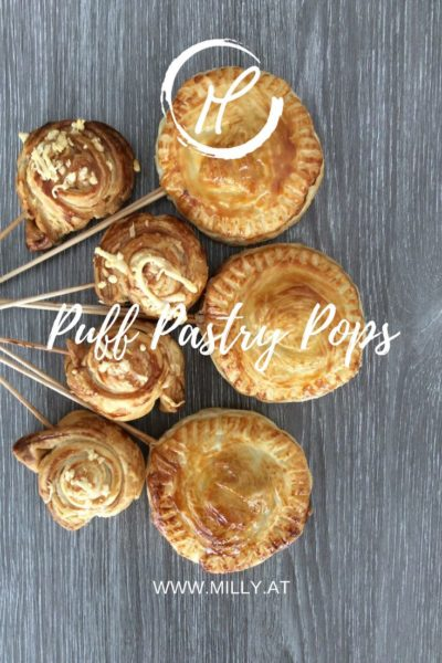 """Every day I see such recipes for sweet or savory pops. These puff pastry pops look amazing styled as a """"bouquet"""" and are perfect as an aperitif."""