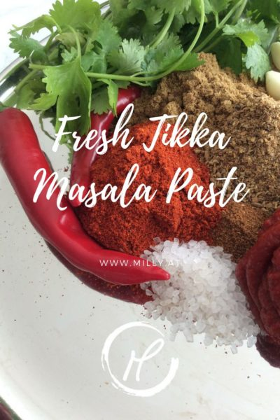 This home made Tikka Masala curry paste uses many spices like ground coriander, cumin and chili but also fresh ingredients like ginger, garlic and coriander.