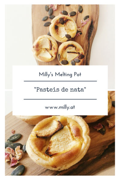"Here my version of the very popular and extremely delicious ""Pasteis de nata"" - Portuguese cream pasties - visit milly.at and find many other recipes! #recipe #sweet #portugal #creampie"