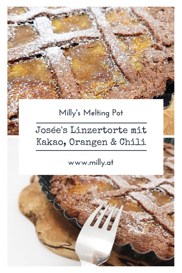 eine Variante der originalen Linzertorte, bietet diese Torte eine Kombination aus einem Teig mit kakao und Chili und eine Fülle aus Orangenmarmelade! #rezept #linzertorte #österreich #dessert #süss