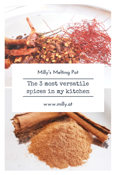 Discover the 3 most versatile spices in my kitchen. I use these 3 nearly every day and they play an important role in many different international cuisines! Also discover their health benefits! #spices #healthy #cumin #chili #cinnamon