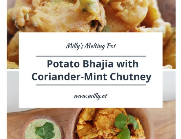 Bhajias are vegetable fritters in a chickpea-flour batter! Here I serve them with a refreshing corainder and mint chutney, a welcome couterweight to the fritters! #recipe #easy #indian #snack #fingerfood