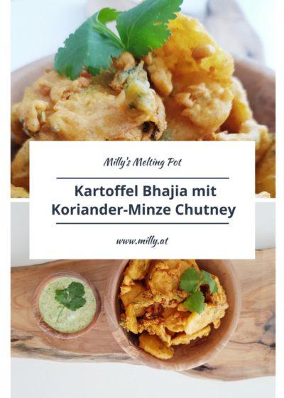 Diese knusprigen Kartoffel Bhajias sind frittierte Kartoffelscheiben in einem herzhaften Kichererbsenmehlteig! Dazu ein frisches und kühlendesKoriander und Minze Chutney! Exzellentes Fingerfood oder einfach einen Snack:) #indisch #chutney #Rezept #einfach #vegetarisch