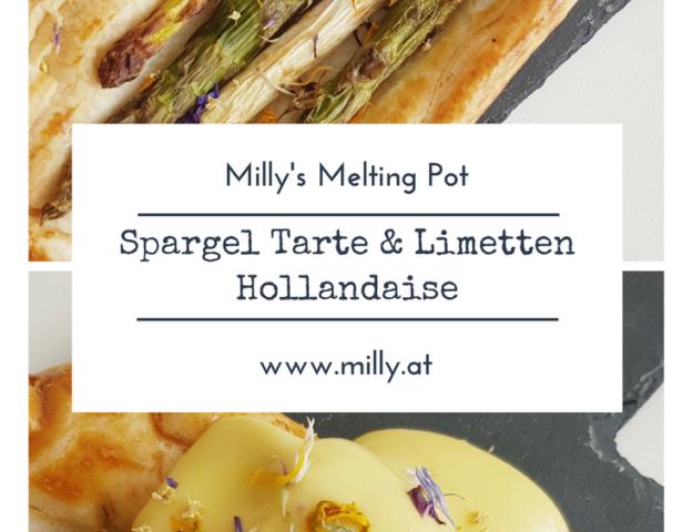 Wenn du eine schnelle Vorspeise brauchst, dann ist dieses Rezept ideal! Diese Spargel Tarte ist in 10 Minuten gemacht (außer du entscheidest dich den Blätterteig selber zu machen). Und während die Tartes im Ofen backen, kannst du Ruck-Zuck die Hollondaise anrühren. #rezept #frühling #spargel #hollandaise #limette #vorspeise