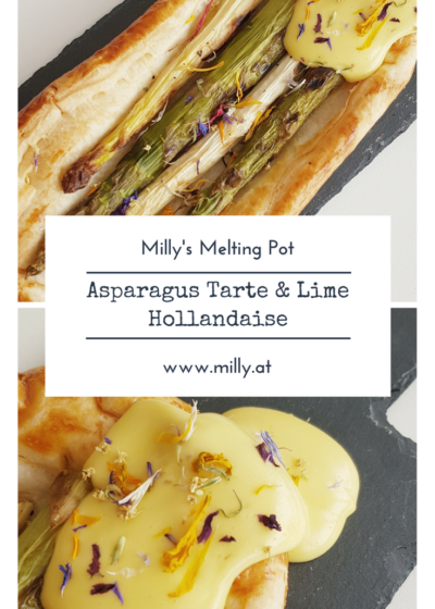 If you need a quick starter, this asparagus tarte is ideal! It is prepared in 10 minutes ( unless you decide to make the puff pastry from scratch) And while the tarte bakes in the oven, you can quickly whip up a hollandaise! #recipe #hollandaise #asparagus #lime #spring #summer #puffpastry