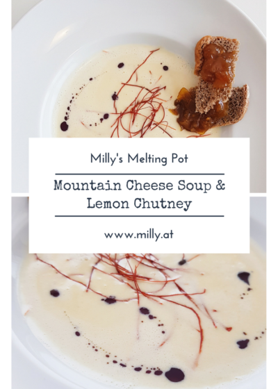 This savory mountain cheese soup will explode your taste buds and leave you wanting for more! And in combination with this tangy lemon chutney, this fusion dish will absolutly convince you! #recipe #cheese #soup #cheesesoup #chutney #lemon #jam #salty #savory