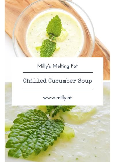 If you serve this cucumber soup in a small glass it is also perfect as fingerfood for your next party! #soup #cucumber #fingerfood