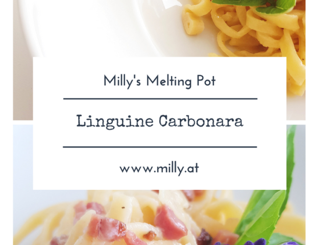 These homemade linguine with carbonara sauce are delicious. This al dente pasta with a cheesy sauce and speck - what else do you need! #pasta #recipe #homemade #diy #carbonara #dinner