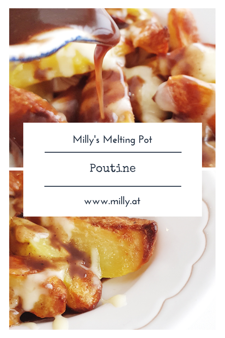 Poutine, a fast-food from Quebec, is the ultimate comfort-food. Try my version with a lot less fat! #recipe #snack #quebec #poutine #fastfood
