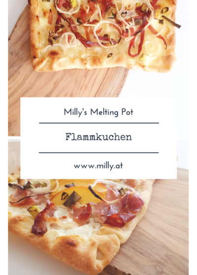 With just very few ingredients, this flammkuchen is the perfect snack or a quick dinner! #dinner #recipe #quick #snack #flammkuchen