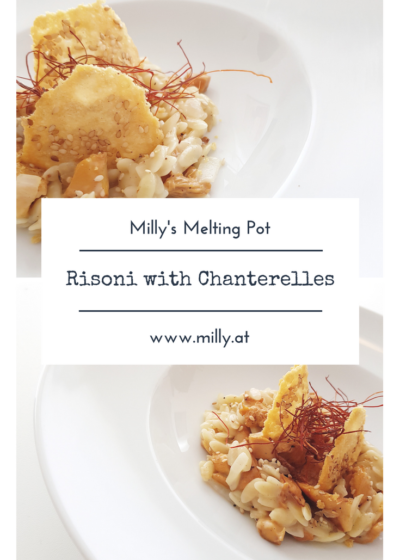 I love this #pasta alternative to #risotto! #risoni in a straight forward creamy sauce with #chanterelles and #parmesan crackers is delicious! #recipe #international #quick #starter #maincourse #vegetarian #chanterelle