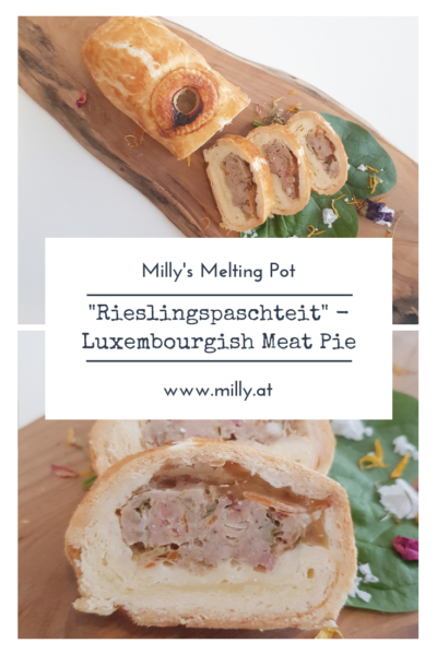 "One of m all-time favorite snacks is this luxembourgish meat pie - ""Rieslingspaschteit"". It is a special meat pie filled with a tangy white wine aspic."
