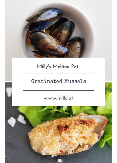 These gratinated mussels are perfect as an amuse-bouche with a great glass of wine or as a starter! #mussels #gratin #garlic #starter #snack