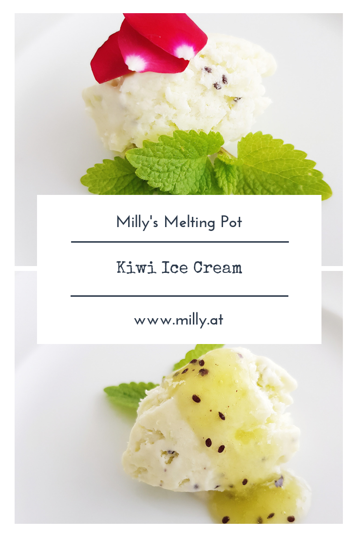 Quick, tasty and refreshing kiwi ice cream for those warm summer evenings! #kiwi #icecream #summer #gelato #fruit #cocktail #spring
