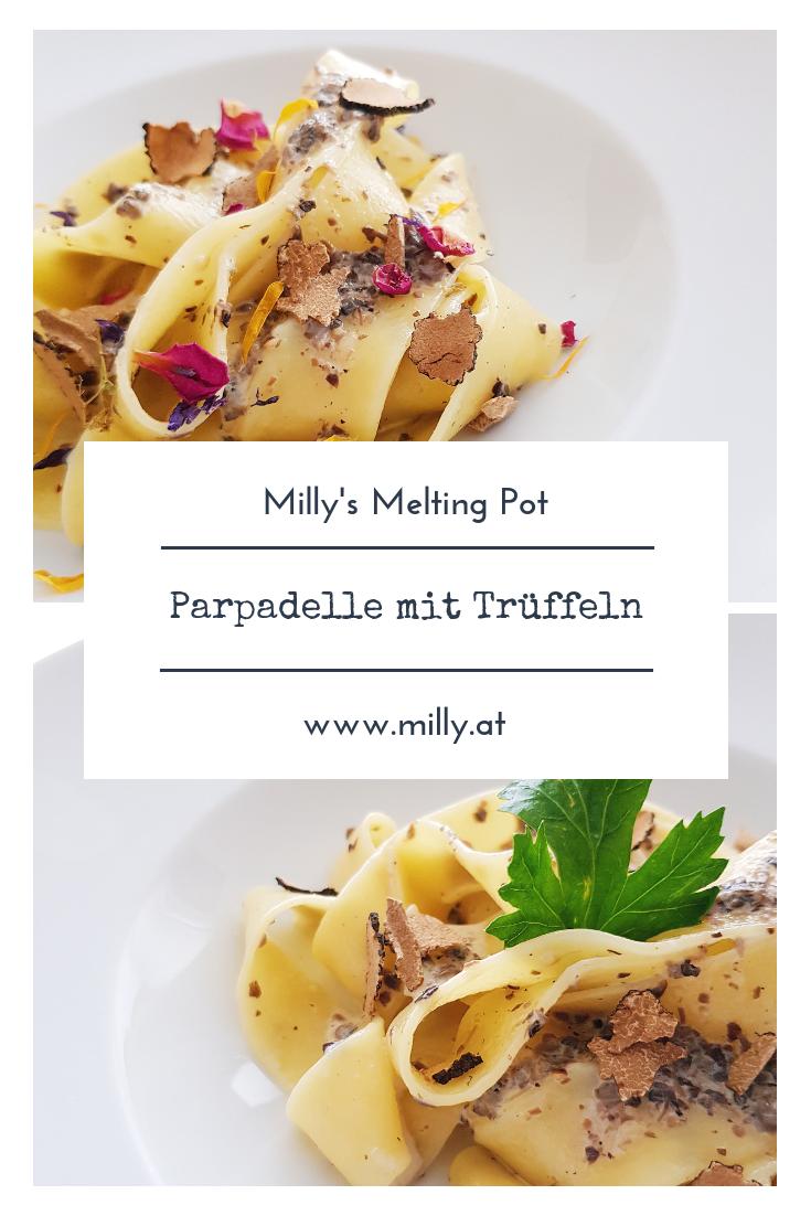 Die Papardelle mit einer Sahne-Trüffel Sauce sind blitzschnell gemacht und cremig-köstlich! #papardelle #pasta #trüffel #schnell #abendessen #mittagessen
