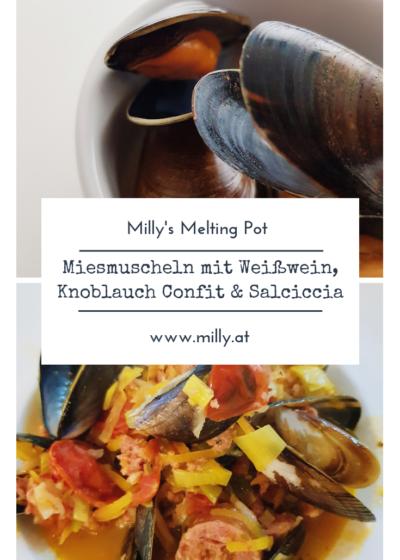 Hier meine Version der traditionellen Miesmuscheln - eine Fusion des belgischen Rezeptes mit Weißwein und dazu Salciccia Würste.