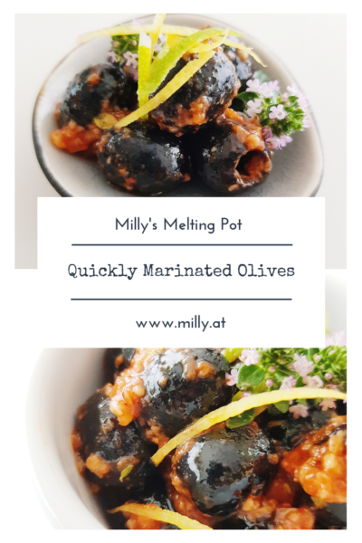 These quickly marinated olives are a hit and delicious! Ideal with a chilled glass of white wine on a warm summer evening.